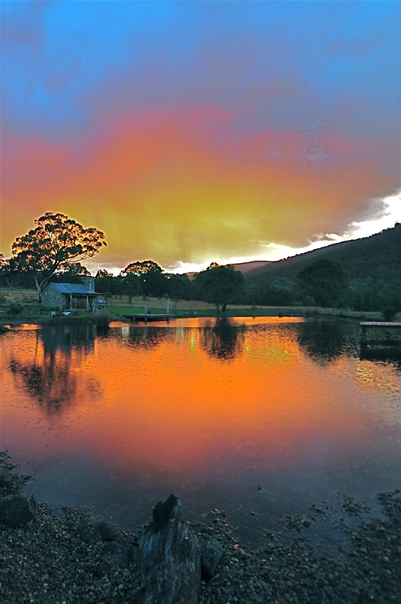 Moonbah Lake Hut at Sunset