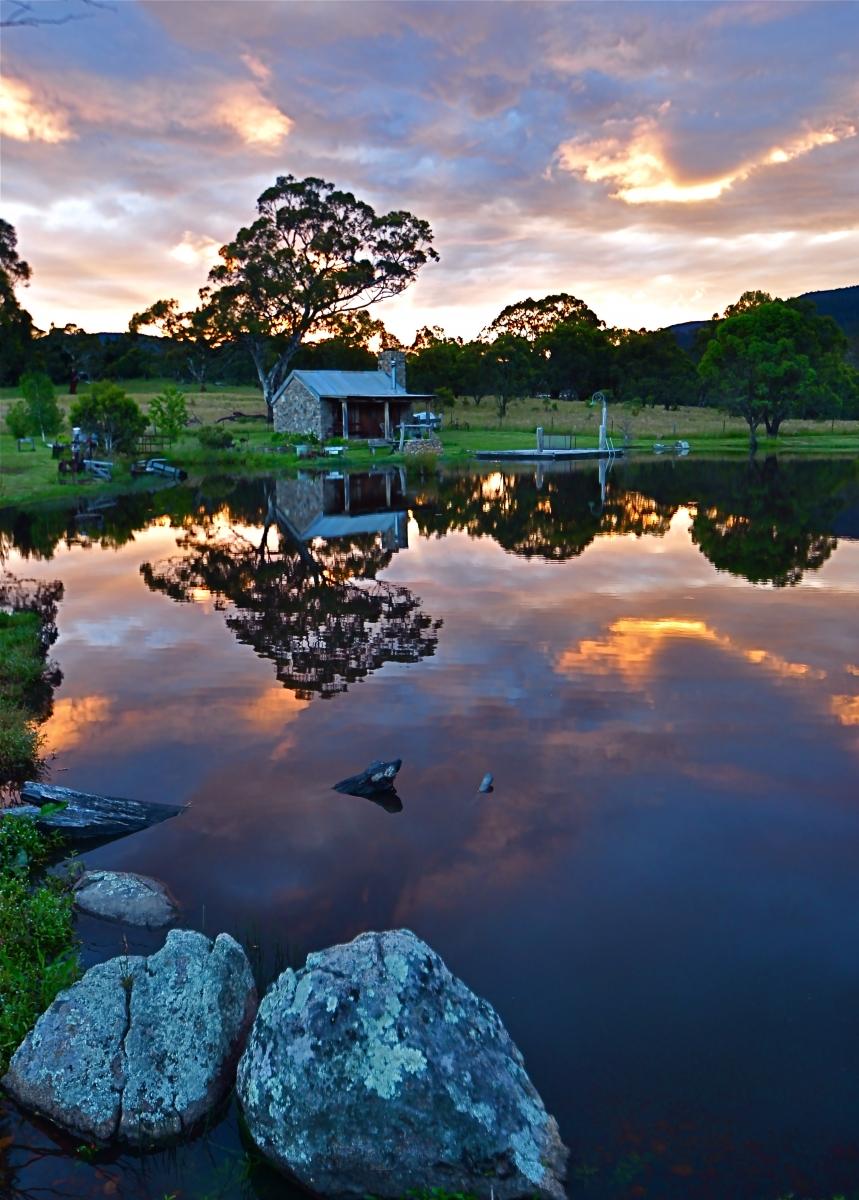 Sunset at Moonbah Lake Hut