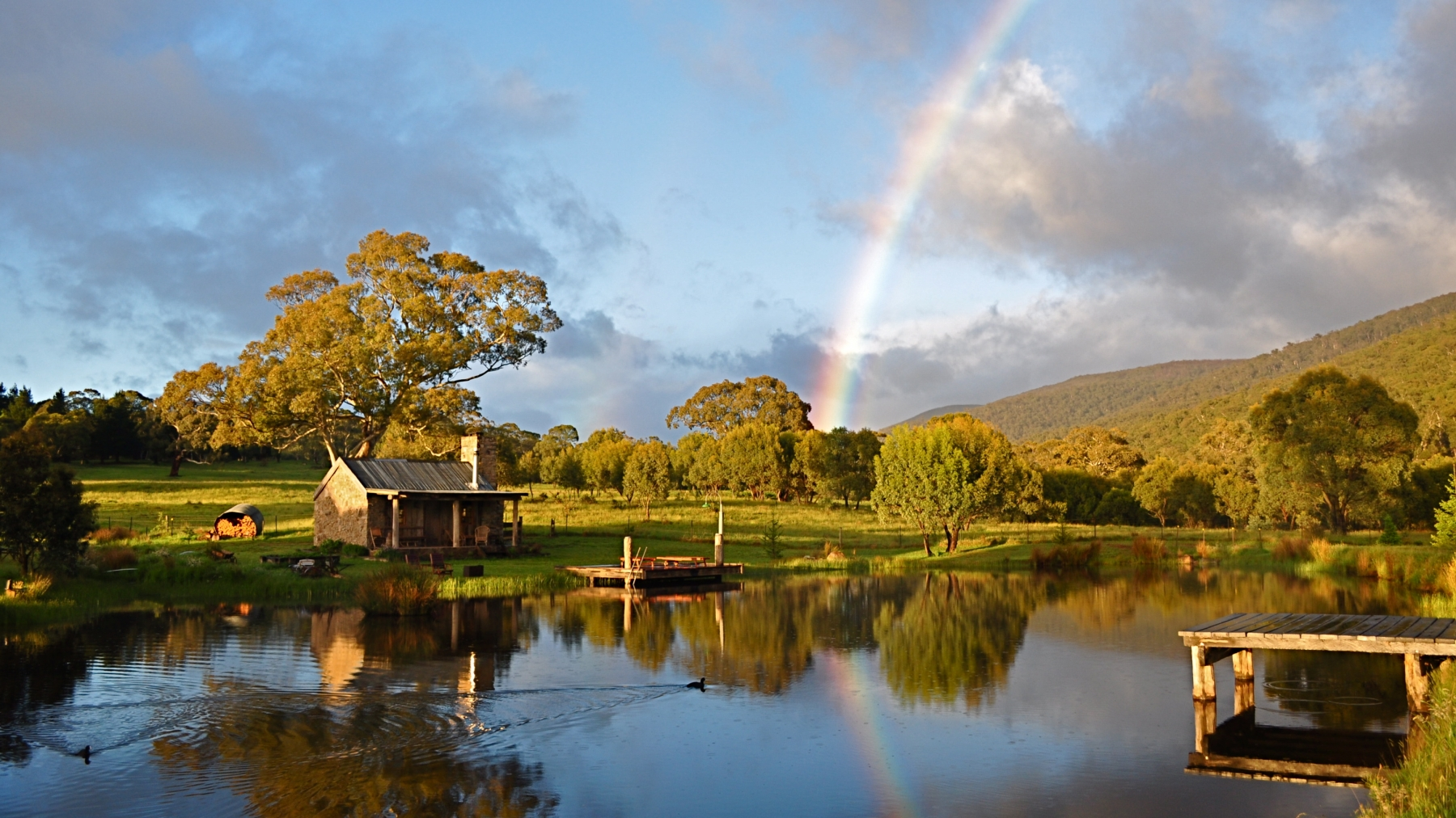 Pot of Gold at the end of the rainbow - Moonbah Lake Hut