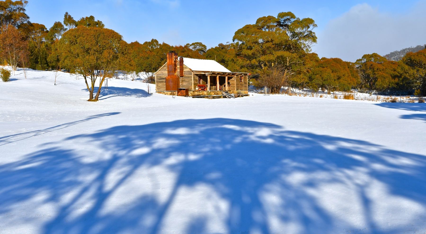 Mid-winter and some welcome blue skies and overnight snow at Moonbah River Hut