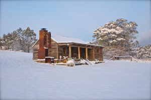 River Hut in Winter Snow at Moonbah Hut Jindabyne Australia