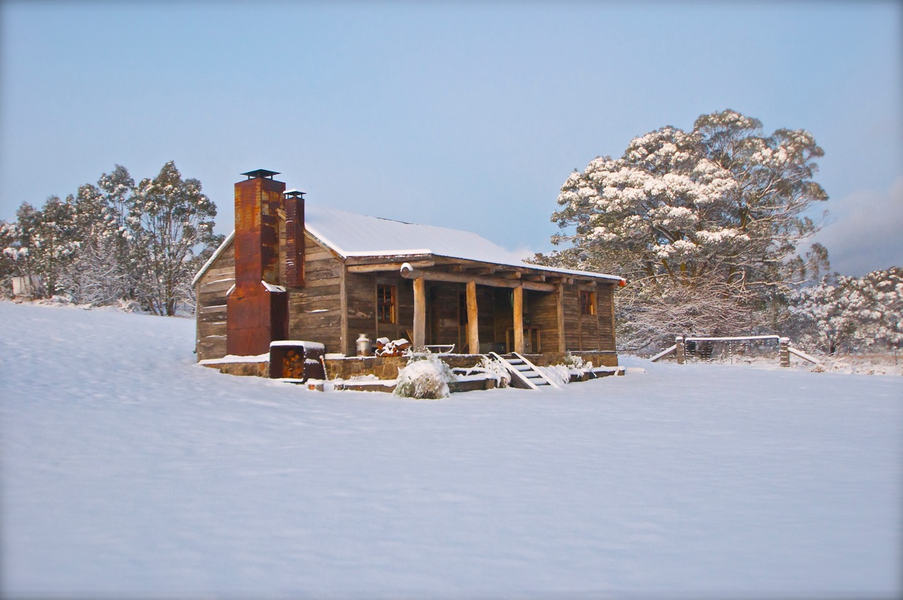 River Hut in Winter Snow at Moonbah Hut Jindabyne Australia