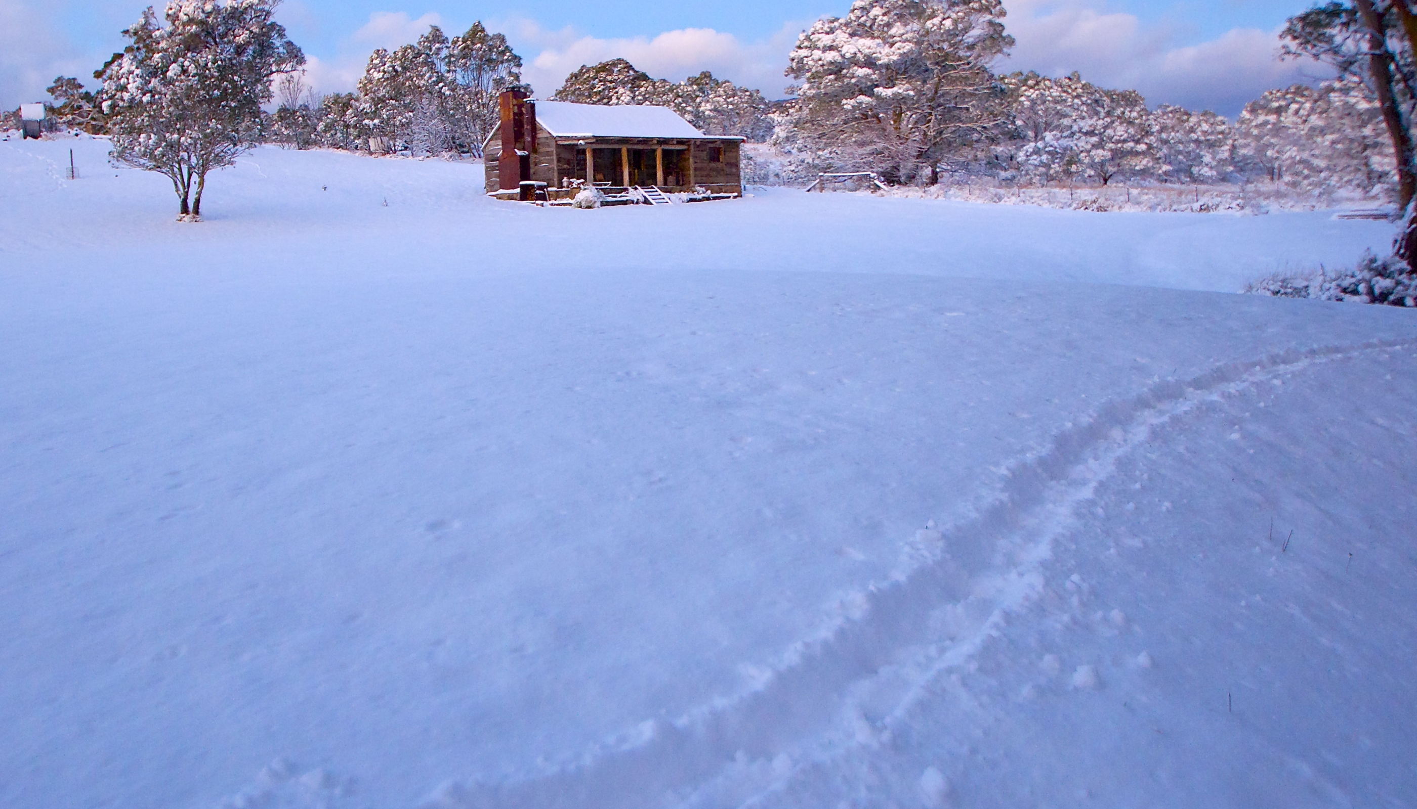 Snow At Moonbah River Hut